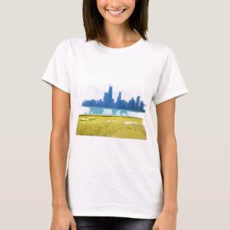 Air Brushed Chicago Skyline Art T-Shirt