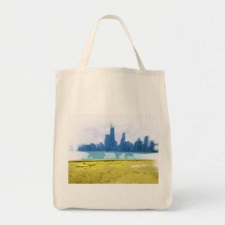 Air Brushed Chicago Skyline Art Tote Bag
