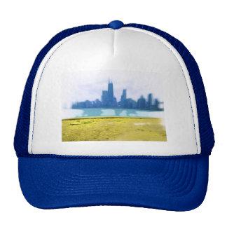 Air Brushed Chicago Skyline Art Trucker Hat