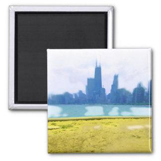 Air Brushed Chicago Skyline Refrigerator Magnet