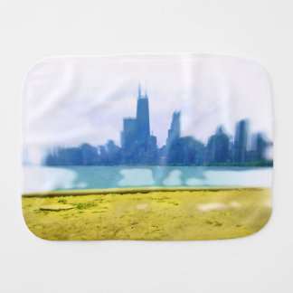 Air Brushed Chicago Skyline Baby Burp Cloth