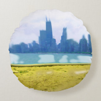 Air Brushed Chicago Skyscrapers Round Pillow