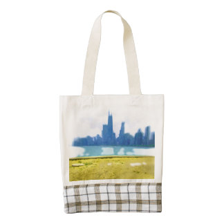 Air Brushed Chicago Skyscrapers Zazzle HEART Tote Bag