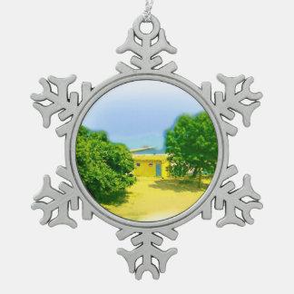 Air Brushed Lake Michigan Snowflake Pewter Christmas Ornament