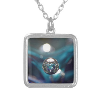 Air Bubble In Glass Silver Plated Necklace