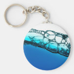 Air bubbles in blue water key chain