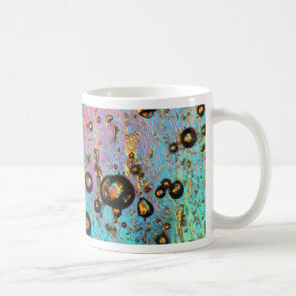 Air bubbles in ice under the microscope coffee mug