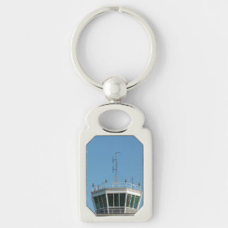 Air Control Tower Antenna Silver-Colored Rectangular Metal Keychain