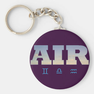 Air Element with Zodiac Signs Basic Round Button Keychain