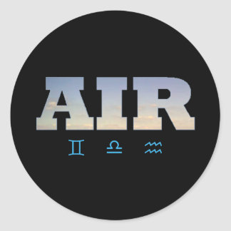Air Element with Zodiac Signs Classic Round Sticker