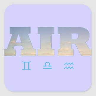 Air Element with Zodiac Signs Square Sticker