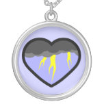 Air Elemental Heart Round Pendant Necklace
