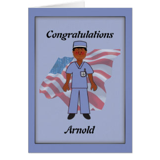 Air Force Black Male Nursing Graduation Card