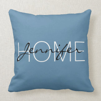 Air Force blue color home monogram Throw Pillow