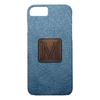 Air Force blue (RAF) Leather Look Monogram iPhone 7 Case