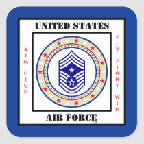 Air Force Command Chief Master Sergeant CCM Sgt E9 Square Sticker
