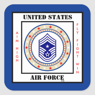 Air Force Command Chief Master Sergeant CCM Sgt E9 Square Sticker