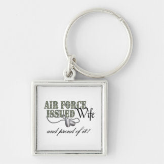 Air Force Issued Wife Silver-Colored Square Keychain