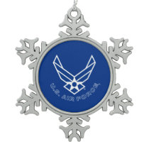 Air Force Logo - Blue Snowflake Pewter Christmas Ornament