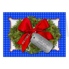 AIR FORCE MILITARY HOLIDAY - CHRISTMAS WREATH CARD at Zazzle