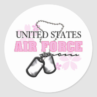 Air Force Mom flowers Classic Round Sticker
