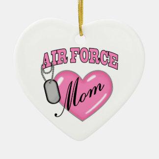 Air Force Mom Heart N Dog Tag Ceramic Ornament