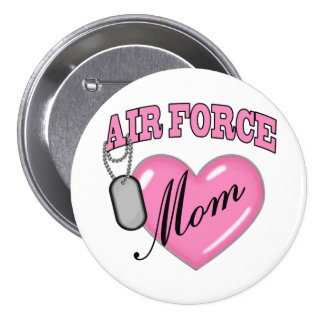 Air Force Mom Heart N Dog Tag Pinback Button