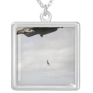 Air Force pararescuemen conduct a combat insert 2 Silver Plated Necklace