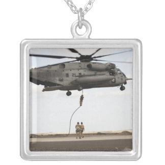 Air Force pararescuemen conduct a combat insert 3 Square Pendant Necklace