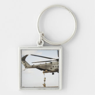 Air Force pararescuemen conduct a combat insert 4 Silver-Colored Square Keychain
