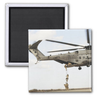 Air Force pararescuemen conduct a combat insert 4 2 Inch Square Magnet