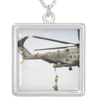 Air Force pararescuemen conduct a combat insert 4 Silver Plated Necklace