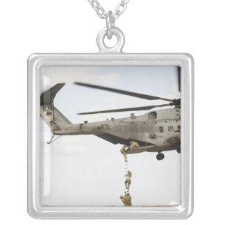 Air Force pararescuemen conduct a combat insert 4 Square Pendant Necklace