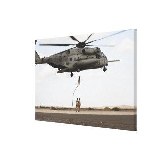 Air Force pararescuemen conduct a combat insert Canvas Print