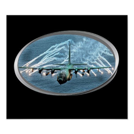 air force plane laying down flares print