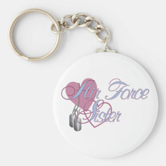 Air Force Sister Hearts N Dog Tags Basic Round Button Keychain