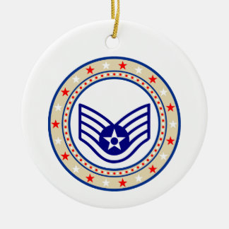 Air Force Staff Sergeant SSgt E-5 Ceramic Ornament