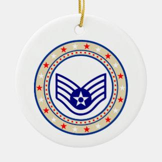 Air Force Staff Sergeant SSgt E-5 Ceramic Ornament