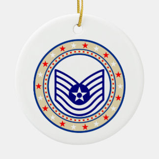 Air Force Technical Sergeant TSgt E-6 Ceramic Ornament