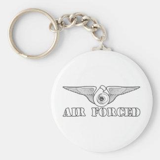 Air Forced Basic Round Button Keychain