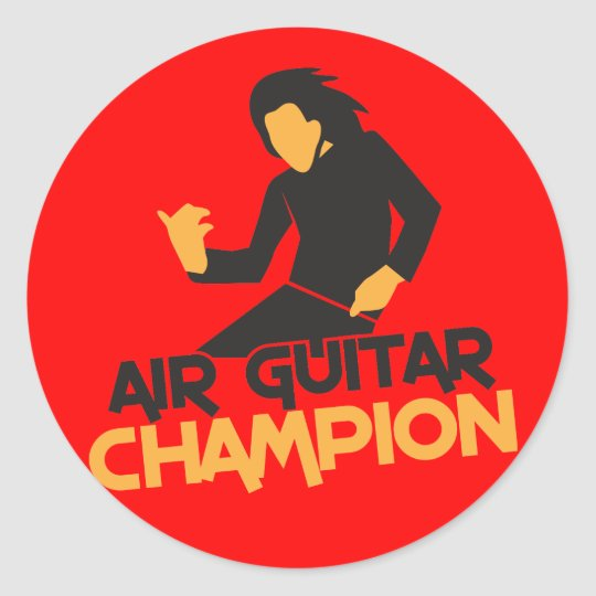 Air Guitar Champion design Classic Round Sticker