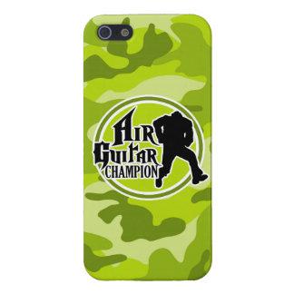 Air Guitar divertido camo verde claro camuflaje iPhone 5 Cárcasas