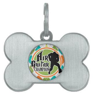 Air Guitar divertido en el modelo colorido de Placa De Mascota