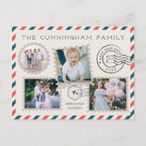 Air Mail Holiday Photo Collage Postcard