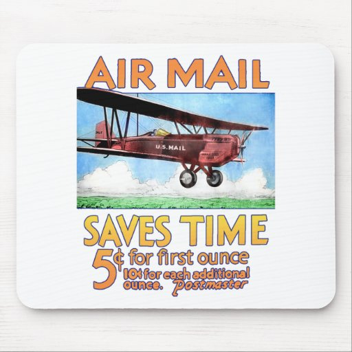 Air Mail Saves Time Mousepad