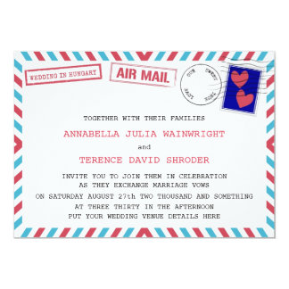 "Air Mail Wedding In Hungary Invitations 5"" X 7"" Invitation Card"