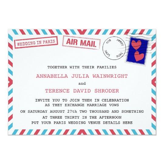 Air Mail Wedding In Paris Invitations
