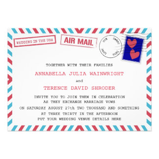Air Mail Wedding In USA Invitations