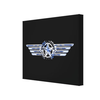 Air Pilot Chrome Like Star Wings Canvas Print