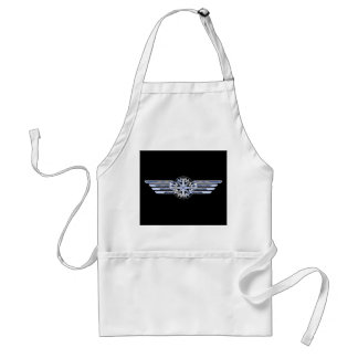 Air Pilot Chrome Like Wings Compass on Black Adult Apron
